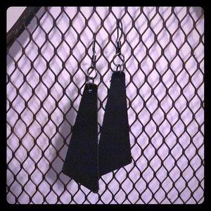 Handmade genuine leather dangle earrings- Black!